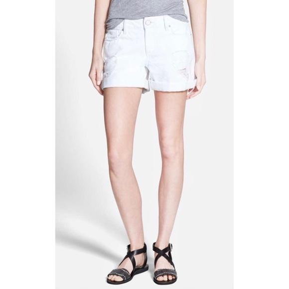 f7f61f4778 DL1961 Pants - DL1961 Karli Boyfriend Distress White Jean Shorts